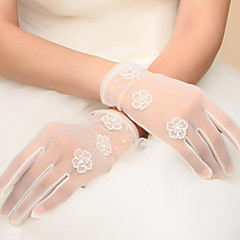 Korean Wrist Length Fingertips Glove Net Bridal Gloves with Beading / Appliques / Pearls