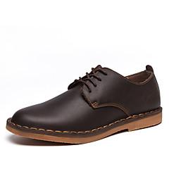 Oxfords-Læder-Komfort-Herre-Sort Brun-Fritid-Flad hæl