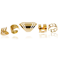 Ring Fashion Wedding / Party / Daily / Casual Jewelry Alloy Women Midi Rings / Band Rings 1set,Adjustable Gold