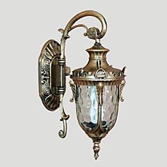 Udendørs væglampe, 1 lys, Classic Aluminium Glas Maleri