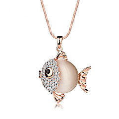 Women's Pendant Necklaces Gemstone Rhinestone Opal Rose Gold Plated Alloy Fashion Adorable Gift Boxes & Bags Rose Gold JewelryWedding