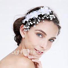 Femme Tulle / Acrylique Casque-Mariage / Occasion spéciale Fleurs 1 Pièce Rouge / Blanc Rond 0