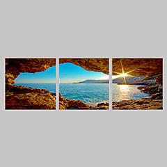 Leinwand-Set von 3 Landschaft Meer im Sonnenaufgang Leinwand Druck fertig zum Aufhängen
