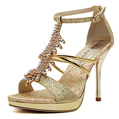 Women's Shoes Crystal T-Strap Heels Sparkling Glitter Stiletto Heel Sandals for Wedding/Party Gold Colors
