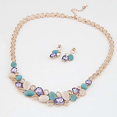 Opals Water drop Elegant Luxury Design New Fashion  Silver Gold Plated Colorful beauty  Jewelry Sets Women Gift