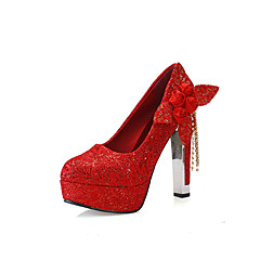 Women's Wedding Shoes Imitation Pearl Applique Red Bridal Heels Round Toe Platform 4.73 Inch Heels