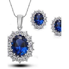 Komplet nakita Sitne naušnice Ogrlice s privjeskom Sapphire Moda Europska Elegantno Dragi kamen Kubični Zirconia Umjetno drago kamenje