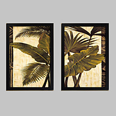 Blumenmuster/Botanisch Gerahmtes Leinenbild / Gerahmtes Set Wall Art,PVC Schwarz Kein Passpartout Mit Feld Wall Art