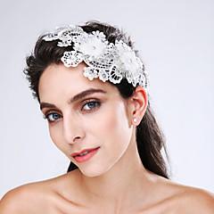 Vrouwen Kant Tule Imitatie Parel Acryl Helm-Bruiloft Speciale gelegenheden Bloemen 1 Stuk