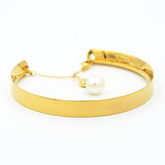 Herre Dame Vedhend Armband Perle Titanium Stål Mote Hjerte Formet Gull Sølv Rose Gull Smykker 1 stk