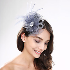 Women's Feather / Acrylic / Net Headpiece-Wedding / Special Occasion / Casual Fascinators 1 Piece