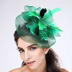 Women's Feather / Net Headpiece-Wedding / Special Occasion Fascinators 1 Piece Coffee / Black / Green / Gray