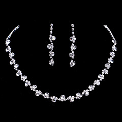 Silver Full-Crystal Rhineston Flower Tissue Necklace Earrings Jewelry Set for Lady Women Wedding Party