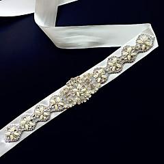 Satin Wedding Sash-Appliques / Pearls Women's 98 ½in(250cm) Appliques / Pearls