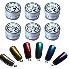6 pcs / set espelho prego Glitter Pó Poeira decorações pigmento DIY NAIL ART lantejoulas cromo 6 cores