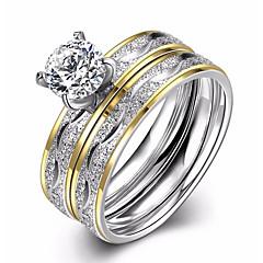 בגדי ריקוד נשים טבעות רצועה טבעת אירוסין זירקונה מעוקבת אהבה אופנתי ארופאי תכשיטים זירקון פלדת טיטניום Circle Shape תכשיטים עבור חתונה