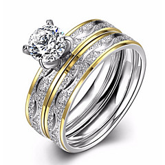 Dame Båndringe Forlovelsesring Kubisk Zirkonium Kjærlighed Mote Europeisk kostyme smykker Zirkonium Titanium Stål Sirkelformet Smykker Til