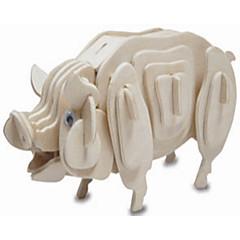 Quebra-cabeças Quebra-Cabeças de Madeira Blocos de construção DIY Brinquedos Porco 1 Madeira Ivory