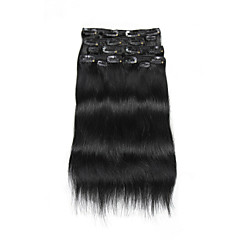 9Pcs/Set Deluxe 120g Clip In Hair Extensions Dark Black 16Inch 20Inch 100% Human Hair For Women