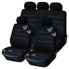 Siège de voiture 9 pcs mis couvre ajustement papillon noir polyester de matériel de conception d'accessoires de voiture universel