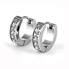 Heren Dames Voor Stel Ring oorbellen Zirkonia Modieus Luxe Sieraden Kostuum juwelen Roestvast staal Gesimuleerde diamant Cirkelvorm