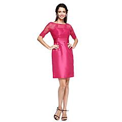 TS Couture® Cocktailparty Jurk - Blote rug Strak/kolom Met sieraad Tot de knie Kant / Taffeta met Sjerp / Lint / Ruches