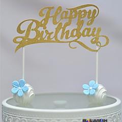 Gold Walk-through Happy Birthday Cake Topper