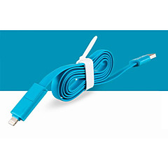 2 in 1 USB 8 pin / microUSB lataus synkronointidatan litteä johto iPhone5 / 5s / 6/6 plus / samsung 1m 3.3ft