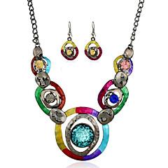 Mücevher 1 Kolye / 1 Çift Küpe imitasyon Safir Parti / Günlük 1set Kadın Çeşitli Renk Düğün Hediyeleri