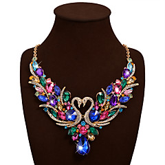 Women's Statement Necklaces Bib necklaces Animal Shape Swan Gemstone Rhinestone Alloy Bohemian Statement Jewelry Luxury Fashion Costume