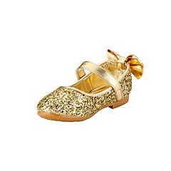 Girl's Flats Spring Summer Fall Flower Girl Shoes Glitter Wedding Outdoor Party & Evening Dress Casual Flat Heel Bowknot Gold Sliver Other