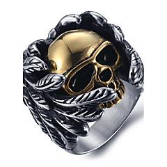 Homme Bagues Affirmées Bague Mode bijoux de fantaisie Acier au titane Forme de Tête de Mort Bijoux Pour Quotidien Décontracté