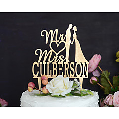 Wedding Cake Topper Personalized with Last Name and Handpainted in Metallic Gold