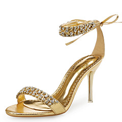 Feminino-Sandálias-Sapatos clube-Salto Agulha-Preto Prateado Dourado-Couro Gliter-Casamento Social Festas & Noite
