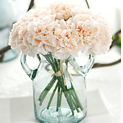 1pc 5 Heads Peony Silk Eco-friendly Material Artificial Flower Bouquet Home Wedding Floral Decor One Size  (26*14cm)