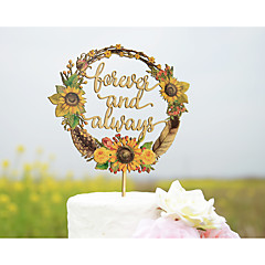 Cake Topper Personalized with First Names Wood Wedding Cake Topper Printed with Sunflowers Wreath