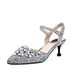 Damen-Sandalen-Hochzeit Kleid Party & Festivität-maßgeschneiderte Werkstoffe-Stöckelabsatz-D'Orsay und Zweiteiler-Silber