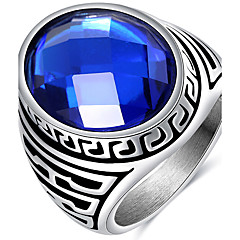 Ring Acrylic Wedding Party Daily Casual Jewelry Acrylic Titanium Steel Men Ring Size 7 8 9 10 Cameo Blue Punk Stainless Steel