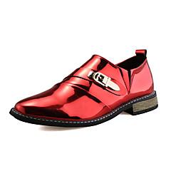 גברים-נעלי אוקספורד-דמוי עור-אחר-שחור אדום שחור וזהב-חתונה יומיומי מסיבה וערב-עקב שטוח