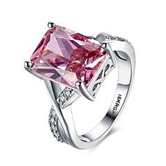 반지 특별한 때 일상 캐쥬얼 보석류 크리스탈 지르콘 구리 은 도금 새해 맞이 약혼 반지 1PC,6 7 8 9 실버