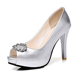 Women's Heels Spring Summer Fall Winter Club Shoes PU Wedding Party & Evening Dress Stiletto Heel Rhinestone Sliver Rose Pink Champagne