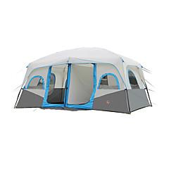5-8 사람 텐트 더블 베이스 가족 캠프 텐트 투 룸 캠핑 텐트 폴리에스터 방수 호흡 능력 바람 방지-하이킹 캠핑 여행 야외