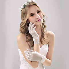 Wrist Length Fingertips Glove Tulle Bridal Gloves Party/ Evening Gloves Spring Summer Fall Pearls Bow