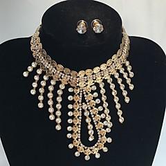 Bijoux 1 Collier 1 Paire de Boucles d'Oreille Mariage Soirée Occasion spéciale Alliage Strass 1set Doré Cadeaux de mariage