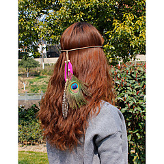 Women's Feather Headpiece-Wedding Special Occasion Casual Office & Career OutdoorHeadbands Flowers Wreaths Head Chain Hair Clip Hair Tie