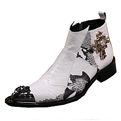 Men's Boots Spring Summer Fall Winter Comfort Novelty Leather Wedding Party & Evening Casual Flat HeelRivet Animal Print Split Joint