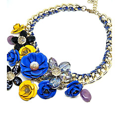 Necklace Choker Necklaces Pendant Necklaces Jewelry Wedding Party Circular Design Flower Style Alloy 1pc Gift Yellow Blue Pink