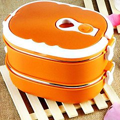 2-Layer Stainless Steel Insulated Box Lunchbox With Handle (Random Color)