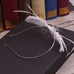 Plume Alliage Imitation de perle Casque-Mariage Occasion spéciale Décontracté Extérieur Serre-tête 1 Pièce