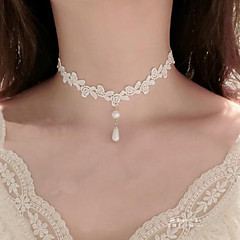 Choker Necklaces Imitation Pearl Lace Tattoo Style Flower Style Dangling Style Pendant Flower Jewelry Women'sWedding Party Special